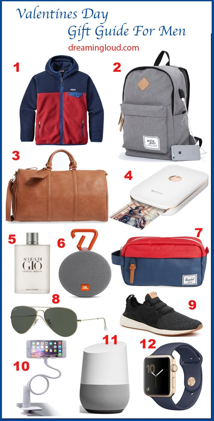 Valentine's Day Gift Guide For Him + Outfit | dreamingloud.com --------------------------------------------- vday gifts, valentines day gift guide for men, Patagonia fleece jacket, getaway breeze battery backpack, hp sprocket, sole society duffle bag, google home, phone table stand, jbl clip 2, new balance men's running shoes,apple watch