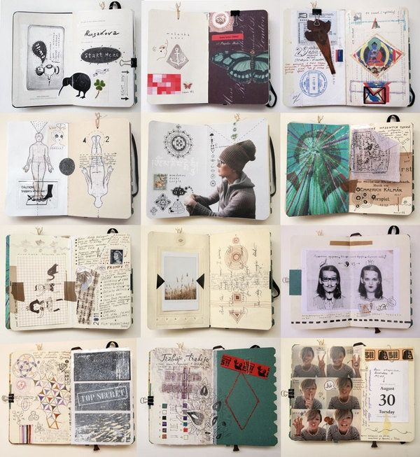 Amy - This visual journal is done in a very graphical way, a lot of collage is used in these pages. I very like these series because they have nice sense of design composition of the imageries and text. Each of the pages have their own identity and I really interested in them because they remind me of 'ZINE'. The images and drawings are very helpful in expressing designer's thoughts and ideas.