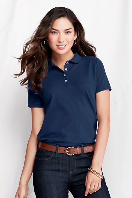 $28.35 Women's Short Sleeve Pique Polo Shirt from Lands' End