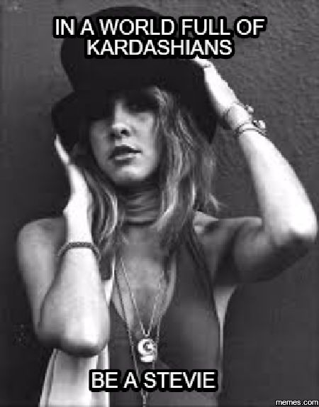 go away forever kardashians and your plastic assets, I would rather be Stevie Nicks any day