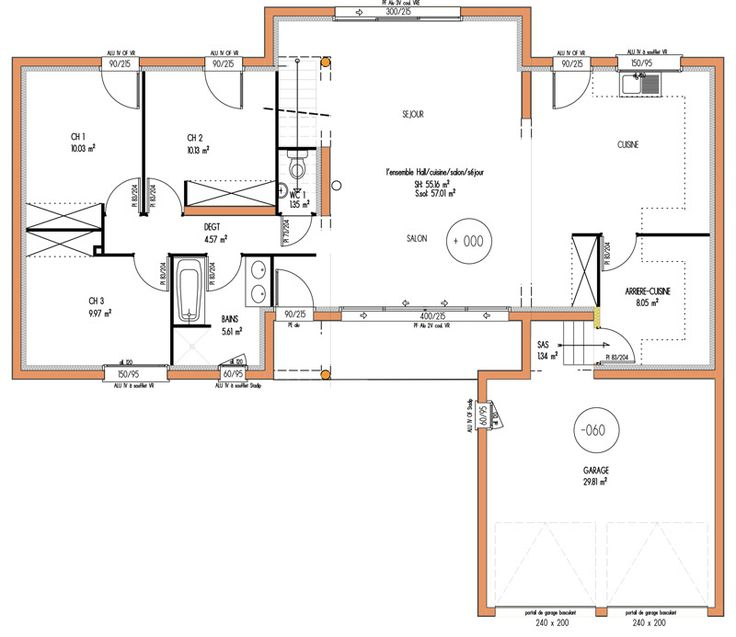 1000 images about couloir sur pinterest clairage Plan maison suite parentale rdc