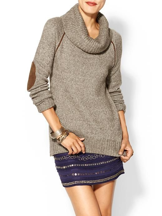 Piperlime | Cowl Neck Sweater , love the patched elbows!! Perfect fall sweater!