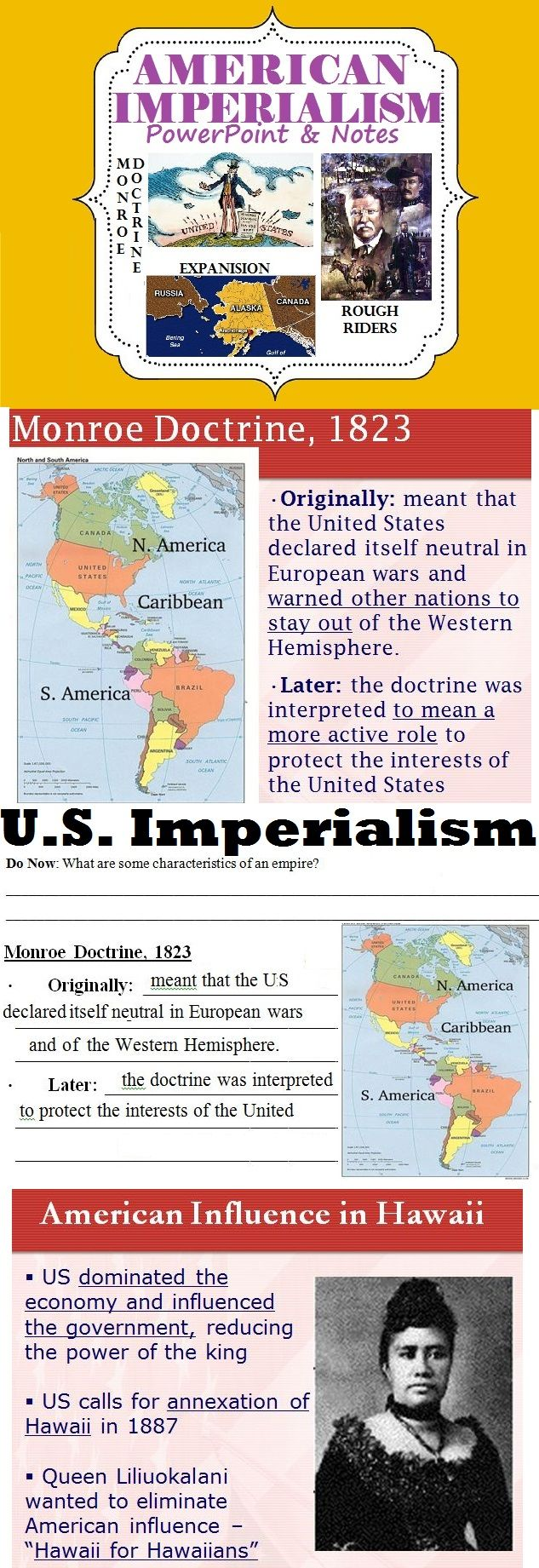 American Imperialism PowerPoint. Many students may not realize that America had an empire (although not as large as Britain or France) and it is vital to inform them of that.