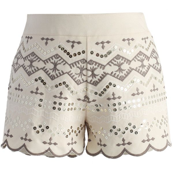 Chicwish Sequins Embellished Shorts in Beige ($36) ❤ liked on Polyvore featuring shorts, pants, beige, shiny shorts, side zip shorts, beige shorts, multi colored shorts and sequin shorts