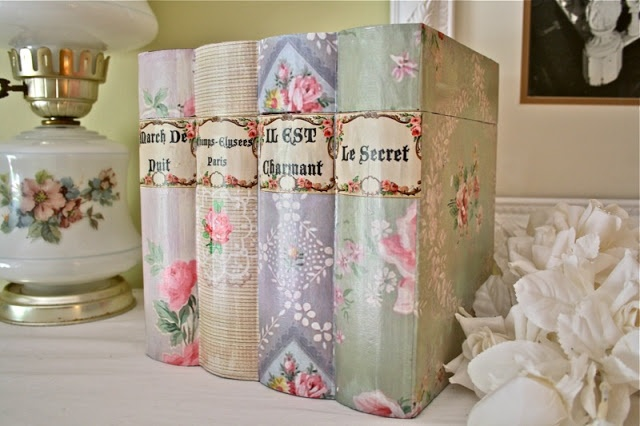 DIY:: Vintage Books Made with Beautiful  Printable  Free Vintage Wallpaper  by The Graphic Fairy