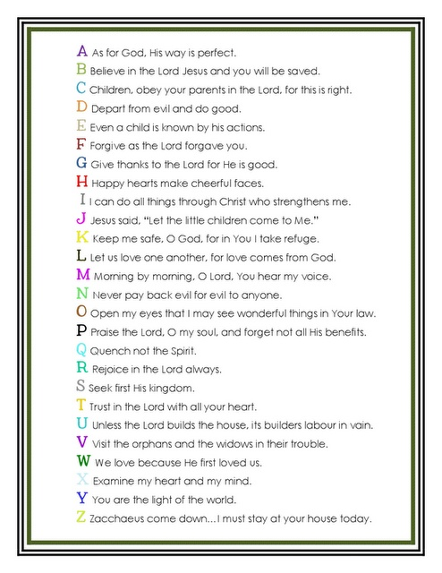 A little more than half way down is the abc bible verse poster for memorization. Love it!