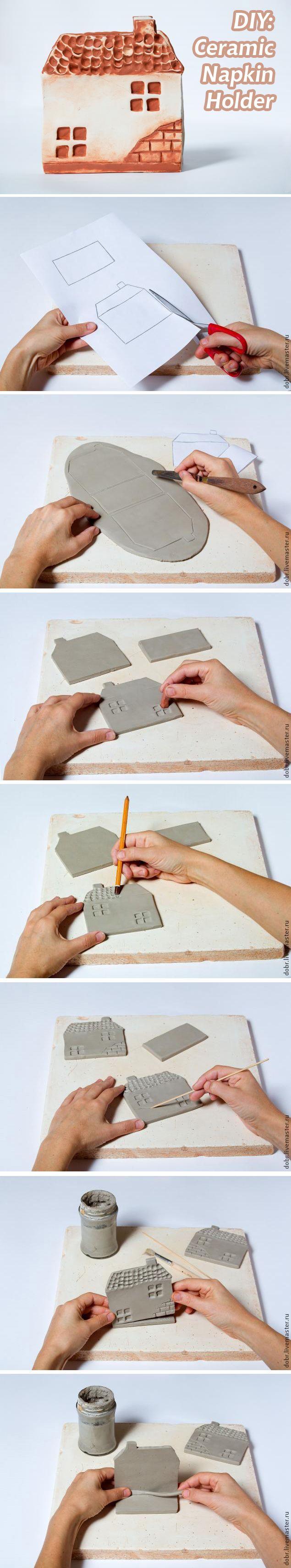 "DIY: Ceramic Napkin Holder. See more: http://www.livemaster.ru/topic/694303  Мастер-класс: Керамическая салфетница ""Старый домик""   #handmade #diy"