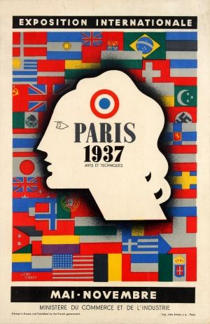 Paris 1937 International Exhibition - original vintage poster by Jean Carlu listed on AntikBar.co.uk