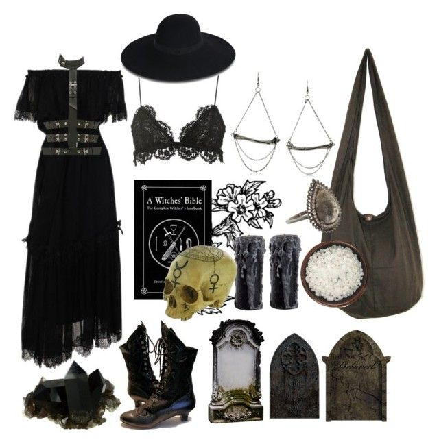 Witch - Necromancy by bloodmoonsuccubus on Polyvore featuring Yves Saint Laurent, Isabel Marant, Giuseppe Zanotti, Eva Fehren, Chris Habana and Maison Michel
