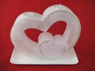 Candle & Rings - Hochzeitskerze Doppelherz mit Teelicht