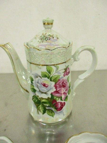 Vintage Roses Pattern Musical Ceramic Teapot Set - shopgoodwill.com