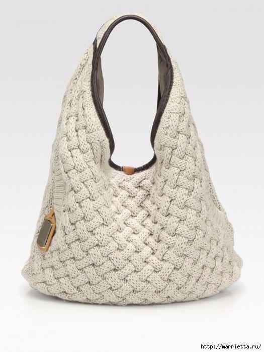 Стильная вязаная спицами сумка-плетенка. Описание (3) (525x699, 137Kb)