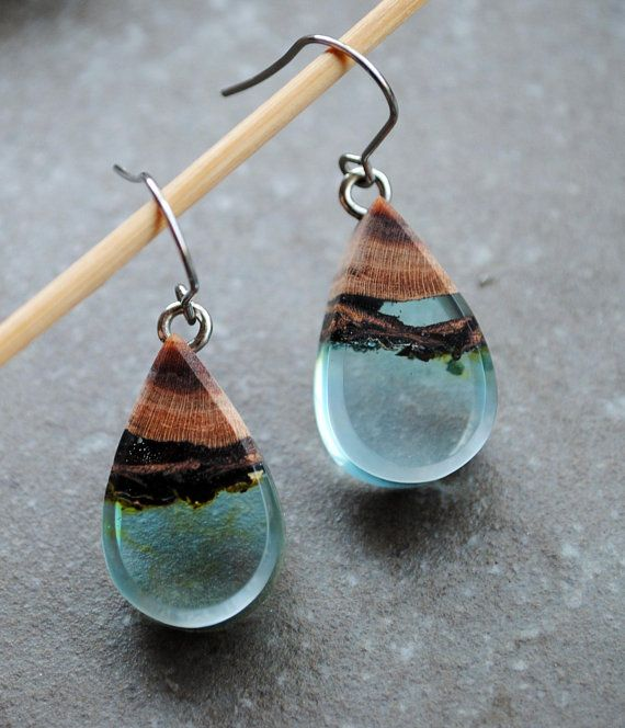 Unique custom handmade wood and blue  green resin earrings