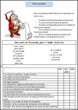 Ecrire une lettre au Père Noël - L'école de Julie --- nicely organized-could do similar w/alternate prompt