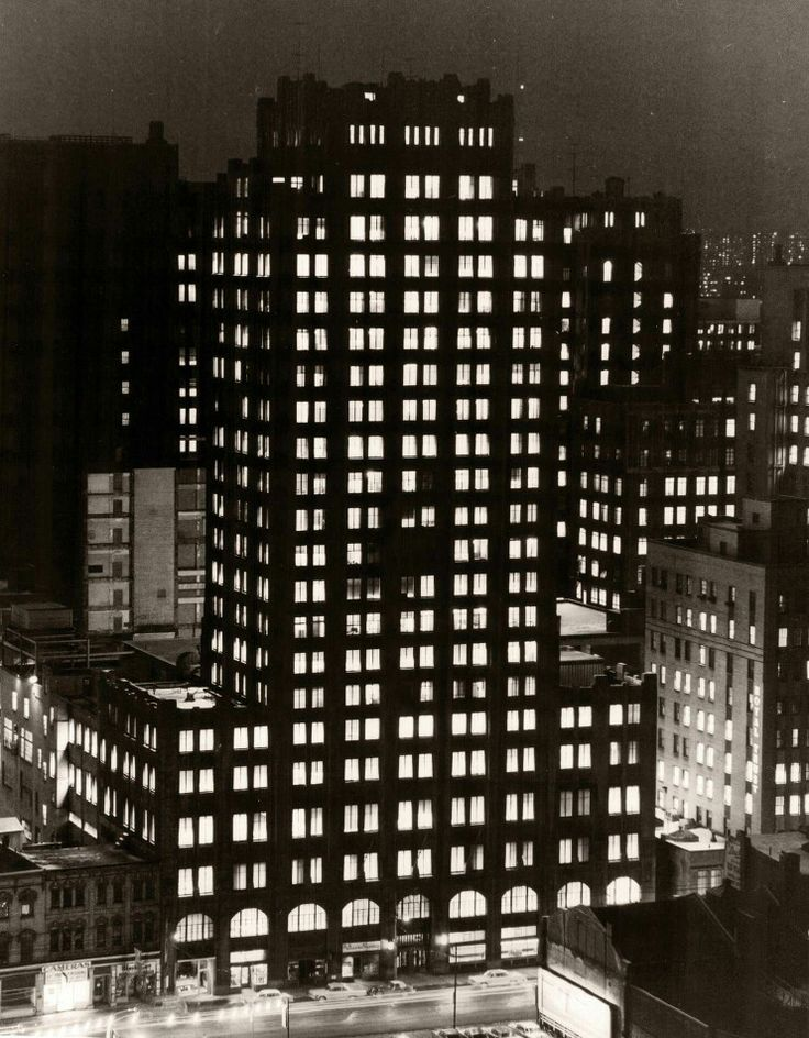 1963: The Toronto Star Building at night, 80 King St. W., Toronto. Photo by Norman James. - Courtesy of the Toronto Public Library & the Toronto Star Archives.