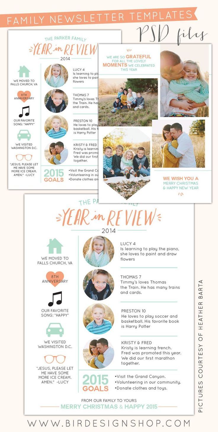 Free photoshop templates - year in review newsletters - photoshop templates for photographers