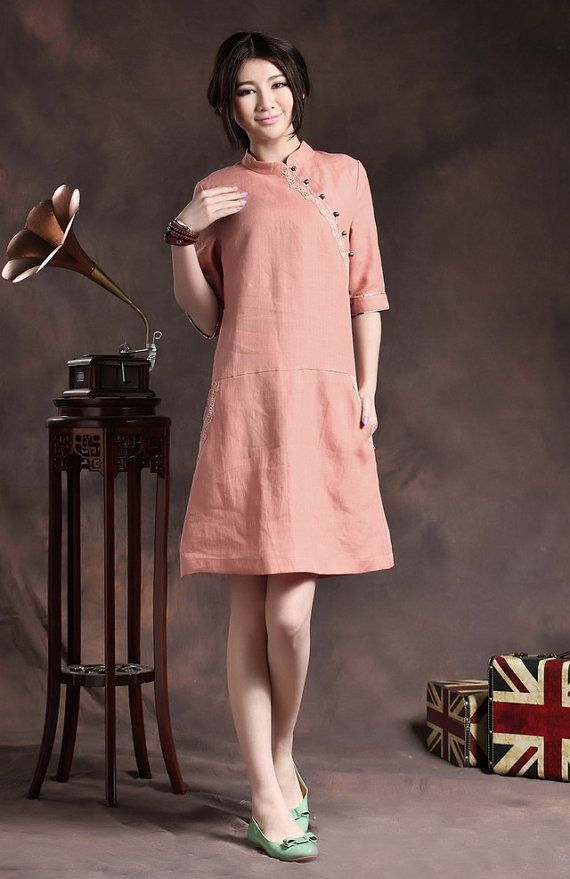Tunic Dress in Pink / Qiaopao Sundress / Linen by camelliatune, $89.00