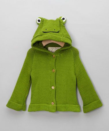 Take a look at this Hooded Green Frog Cardigan by Toto Knits on #zulily today!