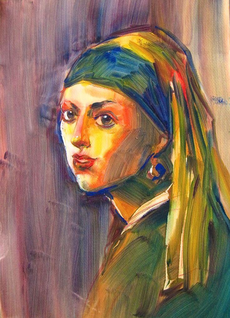 Olga Vinnitskaya. Aquacryl von der Firma Lascaux auf nassem Papier mit Schwämmchen.
