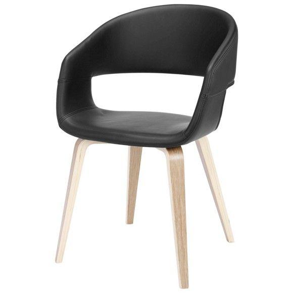 Stuhl im Lederlook: stilecht in Schwarz
