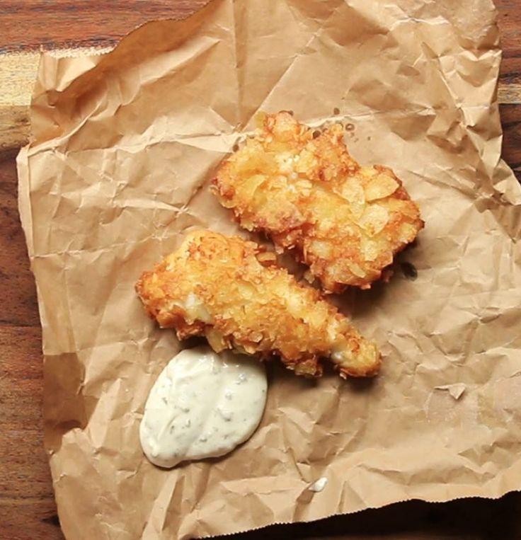 Wenn Du etwas traumhaftes zum Dippen willst: Fisch im Salt & Vinegar Chips-Mantel