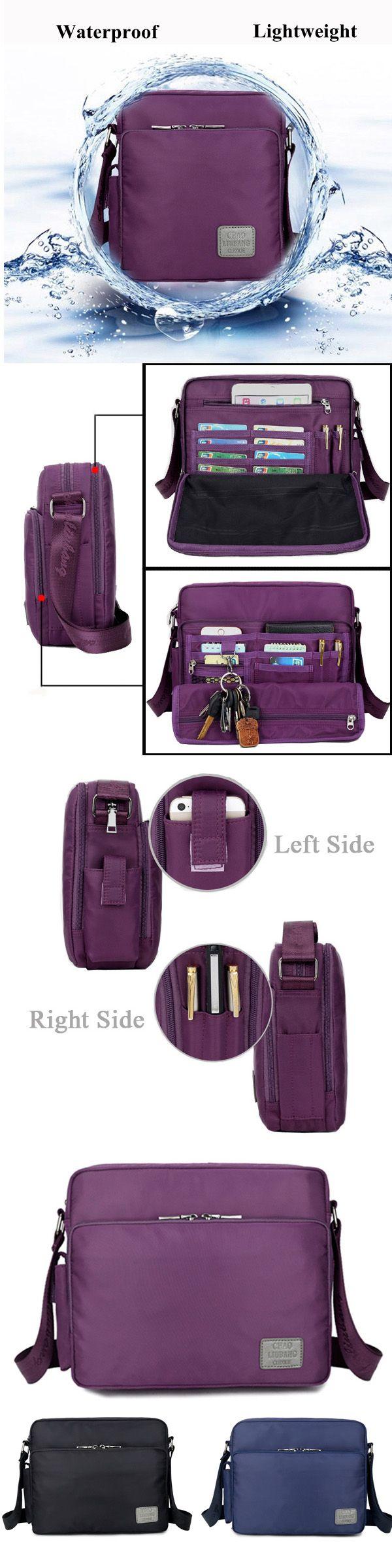 $23.73 Women Men Nylon Waterproof Multifunctional Multi-pockets Shoulder Bags Crossbody Bags
