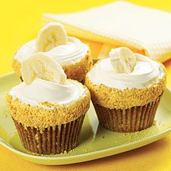 Better Than Banana Cream Pie Cupcake.  Uses banana pudding for part of the filling and Vanilla pudding in the frosting.