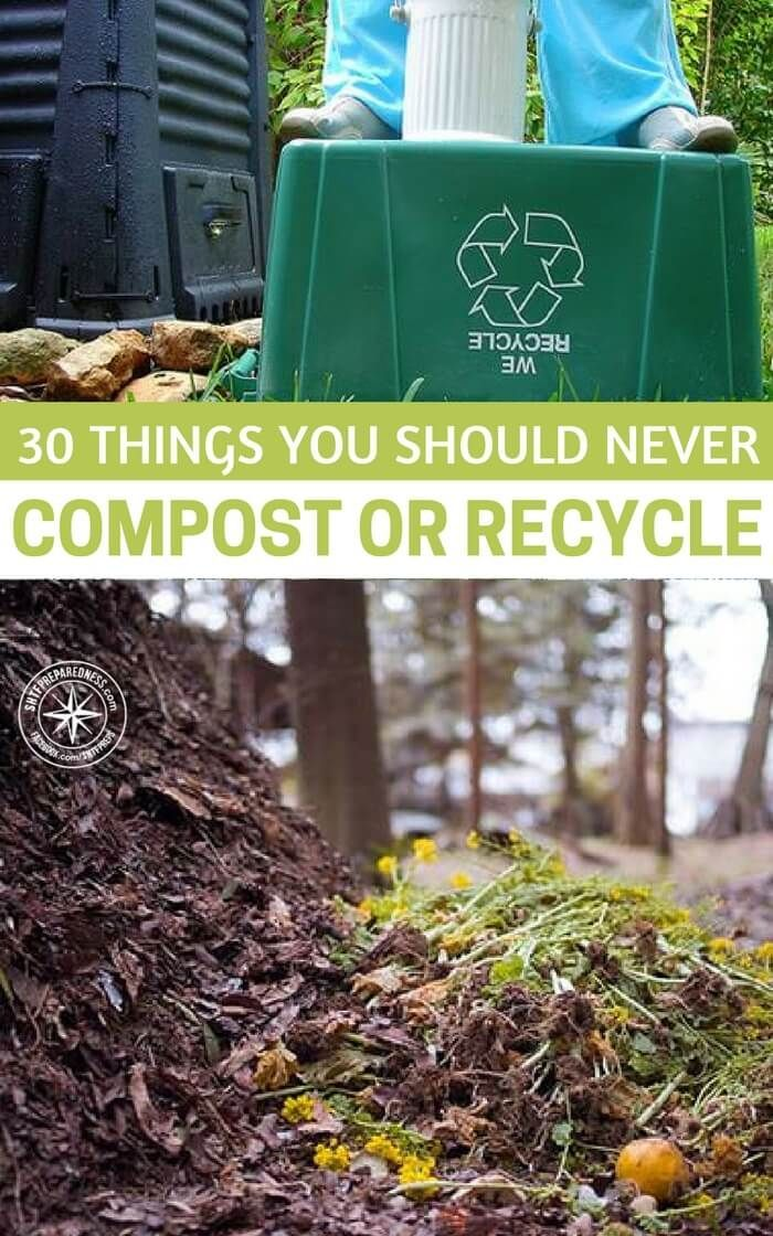 30 Things You Should Never Compost or Recycle — Composting is an economical, green way to fertilize your garden, and it is essential for homesteaders to know how to properly compost. Most homesteaders are pretty isolated, so it's is very inconvenient and expensive to go out and buy fertilizer. #compost #recycle #homestead #homesteading