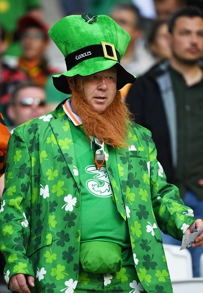 Republic of Ireland supporter enjoys the pre match atmosphere prior to the UEFA EURO 2016 Group E match between Belgium and Republic of Ireland at...
