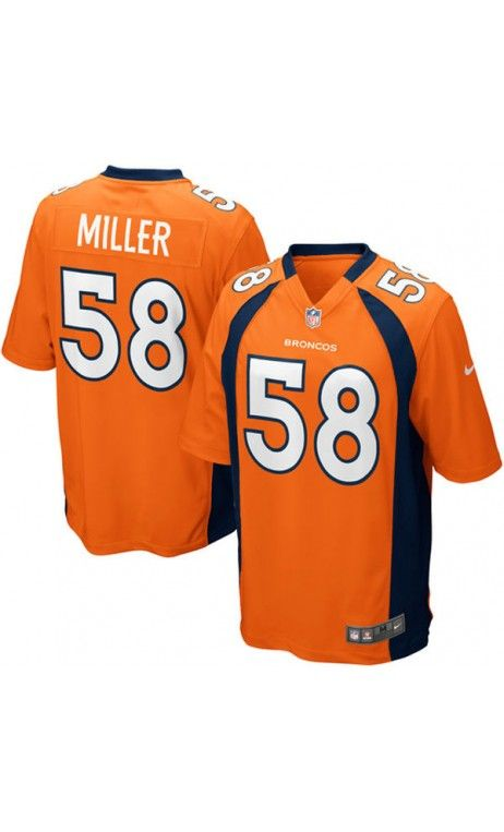 NFL Men's Denver #Broncos Von Miller Orange Game #Jersey #58