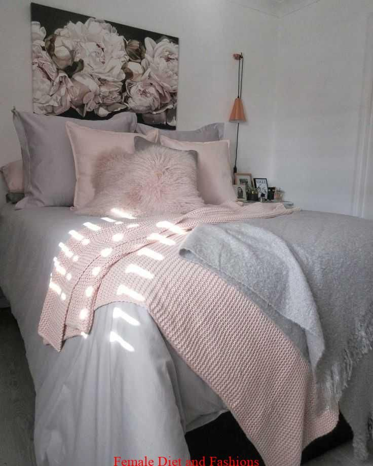 Bedroom With Grey Bedding Blush Pink Throw And Cushions Bedding