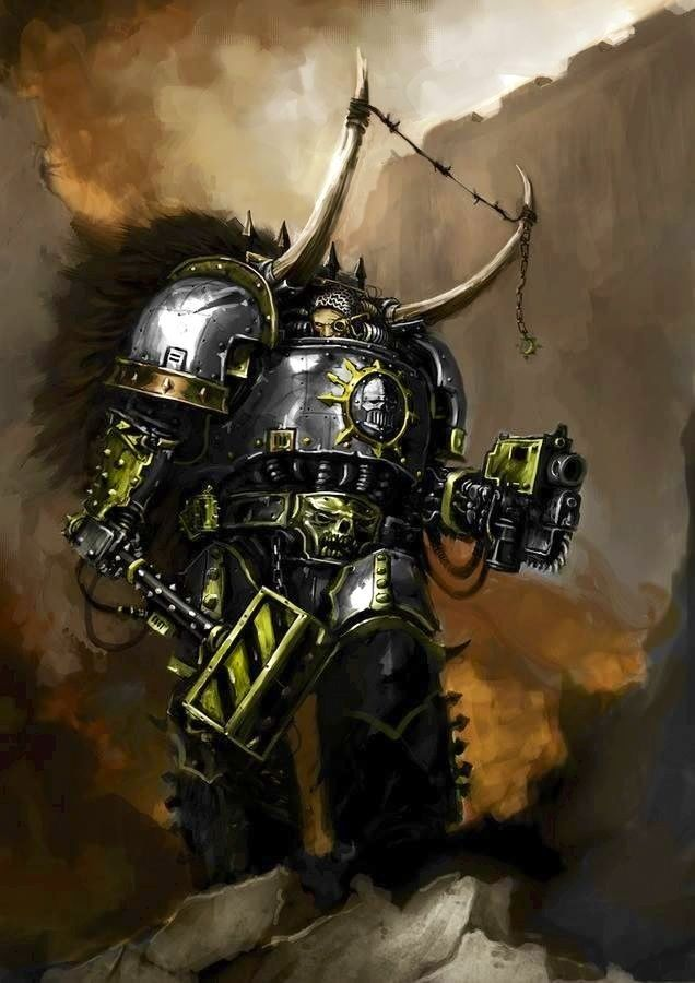 Iron Warriors Warsmith. I don't know who the artist is that painted this picture but I love it. It captures the grit and power of a Chaos renegade without all the warp stress you usually see in GW artwork.