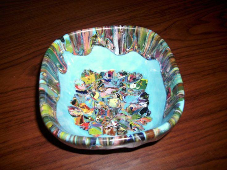 Paint chip technique by elizabeth ham ceramic painting for Clay pot painting techniques