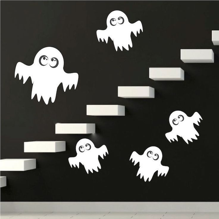 Details about Ghost Wall Decals Wallpaper Spooky Halloween