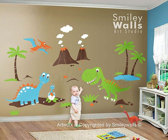 60 best dinosaurs nursery images on pinterest dinosaur for Dinosaur wall decals for kids rooms