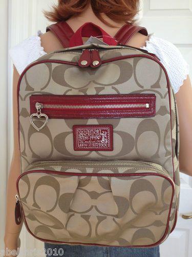 coach luggage outlet eags  COACH BACKPACK DAISY SIGNATURE BOOKBACK KHAKI SILVER MULTICOLOR SCHOOL BAG