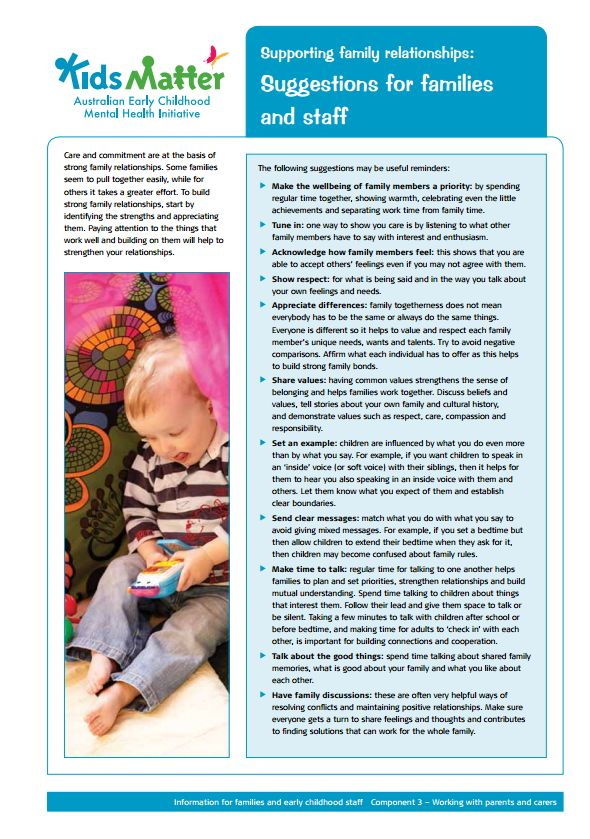 Partnerships with families...Top Tips: Supporting family relationships: Suggestions for families and staff…