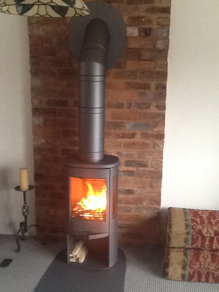 A Contura stove in grey by Hagley Stoves with a Poujoulat twin wall flue  system painted grey to match the wood burner - 1402 Best Images About Chimney Fire Stove Wood Burning Flue Stack