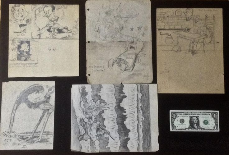 Louise Day, Portfolio Pencil Sketches 1930's-1940's Animation Art for Newspaper, Purchased in Denver, Colorado