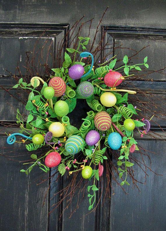 Spring Wreath Bright Easter Egg & Floral Wreath by Designawreath, $59.95
