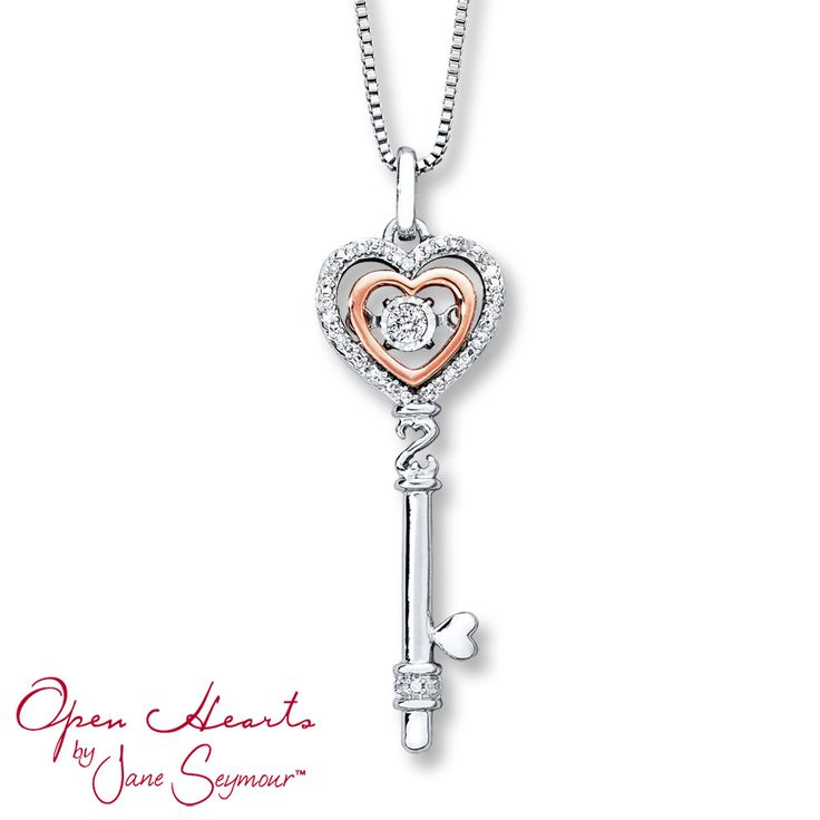 From Open Hearts Rhythm by Jane Seymour™, this delightful key necklace for her is crafted of sterling silver with a 10K rose gold heart. Inside the heart is a round diamond that shimmers as it moves. Additional round diamonds and a dainty Open Hearts symbol complete the look. The pendant sways from an 18-inch box chain that secures with a lobster clasp. The necklace has a total diamond weight of 1/10 carat. Diamond Total Carat Weight may range from .085 - .11 carats.