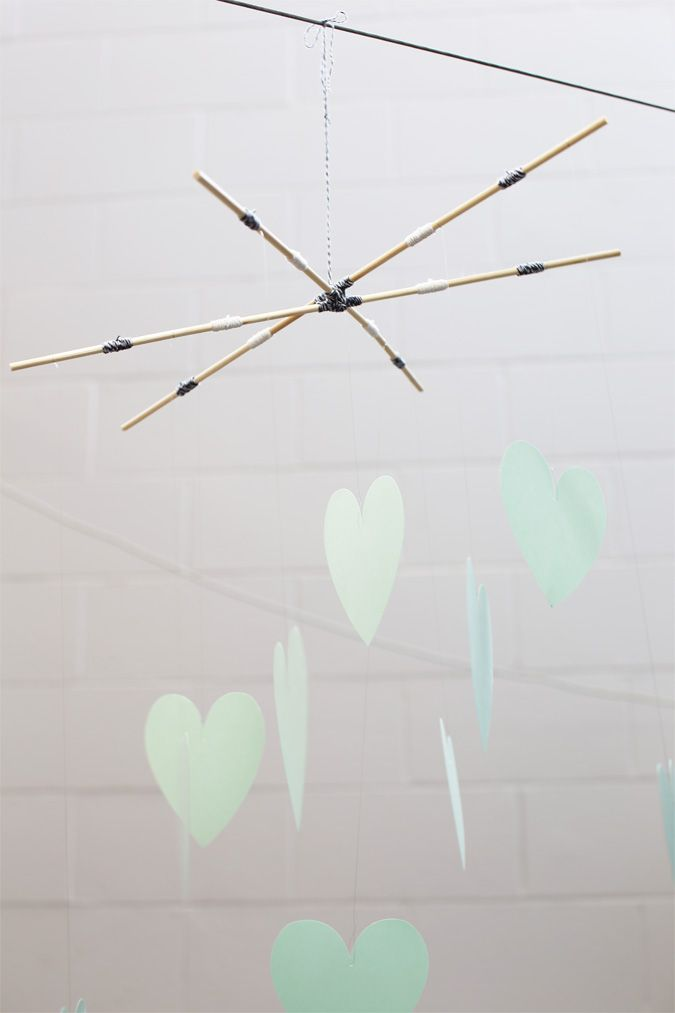 Alex Mae paper heart mobile
