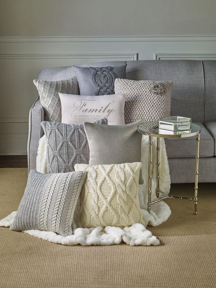 Living Room Decor | Knit Pillows & Fur Throws