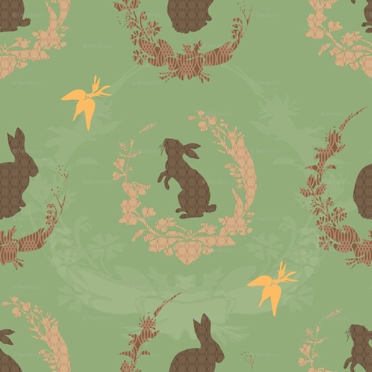 Rabbits with wreaths carrots vintage wall paper