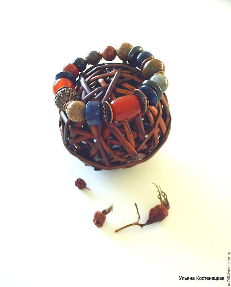 """Купить Браслет """"Осенний чай с шиповником"""" - рыжий, синий, браслет на резинке, браслетик"""