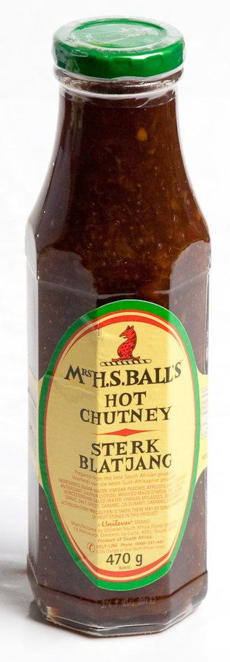 Bobotie, Curries, hamburgers no self respecting South African can be without Mrs Balls Chutney!