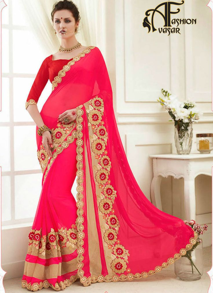 buy sarees online – shopping pink indian georgette party wear saree at best cost