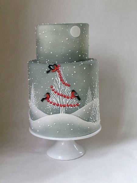 Christmas Cake Ideas Pinterest : Beautiful grey Christmas cake Cake Pinterest