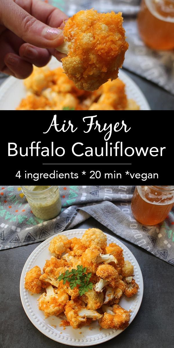 This version of crunchy Air Fryer Buffalo Cauliflower is light on batter and simple to make. Dip it in vegan ranch or your favorite creamy vegan dressing.
