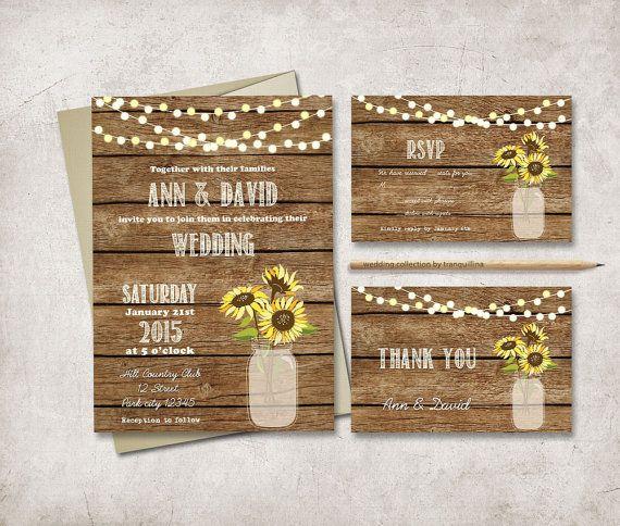 Rustic Wedding Invitation Printable, Digital File - Mason Jar Wedding Invitation Suite, Sunflower Wedding Invite